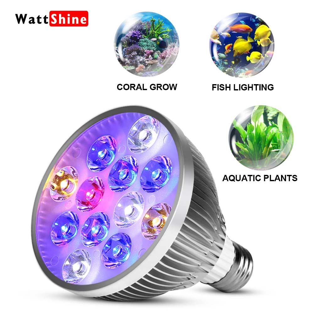 цена на Led aquarium lamp 54W 36W Full spectrum Marine aquariums Fish aquarium lighting Aquarium fish tank light E27 led grow light