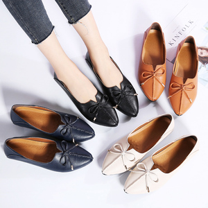 Image 5 - STQ 2020 Autumn Women Ballet Flat Heel Shoes Genuine Leather Slip On Bowknot Woman Shoes Moccasins Loafers Work Shoes 1190
