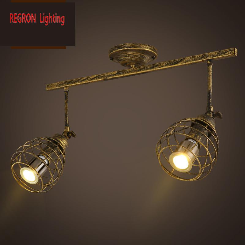 Regron Vintage Ceiling Lights Creative Iron Mesh Guide Led E27 Lamps Industrial Loft Luminary For Clothing Store Bar Cafe Lounge modern vintage lamp iron led ceiling lights for clothing store cafe creative plafoniera led ceiling lamps industrial lighting