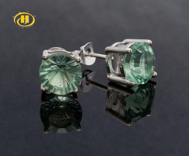 Hutang 5.14 ctw Natural Verde Fluorita Rodada 8 MM 925 Sterling Silver Stud Brincos para As Mulheres Da Borboleta Fecho