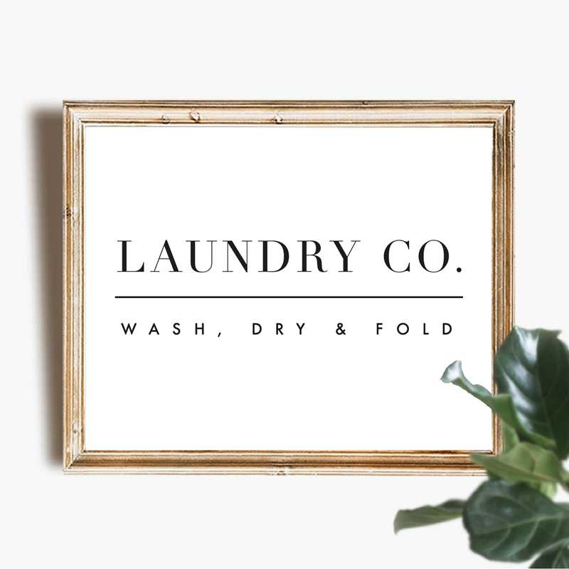 Laundry Wall Art Decor Laundry Sign Print Wash Dry Fold Laundry Guide Poster Art Canvas Painting Picture Home Wall Decoration