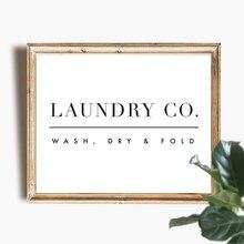 Lavandería Arte de la pared Decoración lavandería signo de lavado en seco para la colada plegable guía póster lienzo artístico foto de pintura de casa decoración de la pared