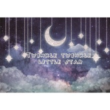 Laeacco Twinkle Little Star Night Moon Baby Birthday Vinyl Photographic Backdrops Backgrounds Photo Studio