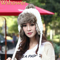 Winter Warm Earflap Beanie Hat Wool Fleece Trooper Trapper Pilot Snowboard Faux Fur Solid Ball Knitted Bomber Hat Cap For Women