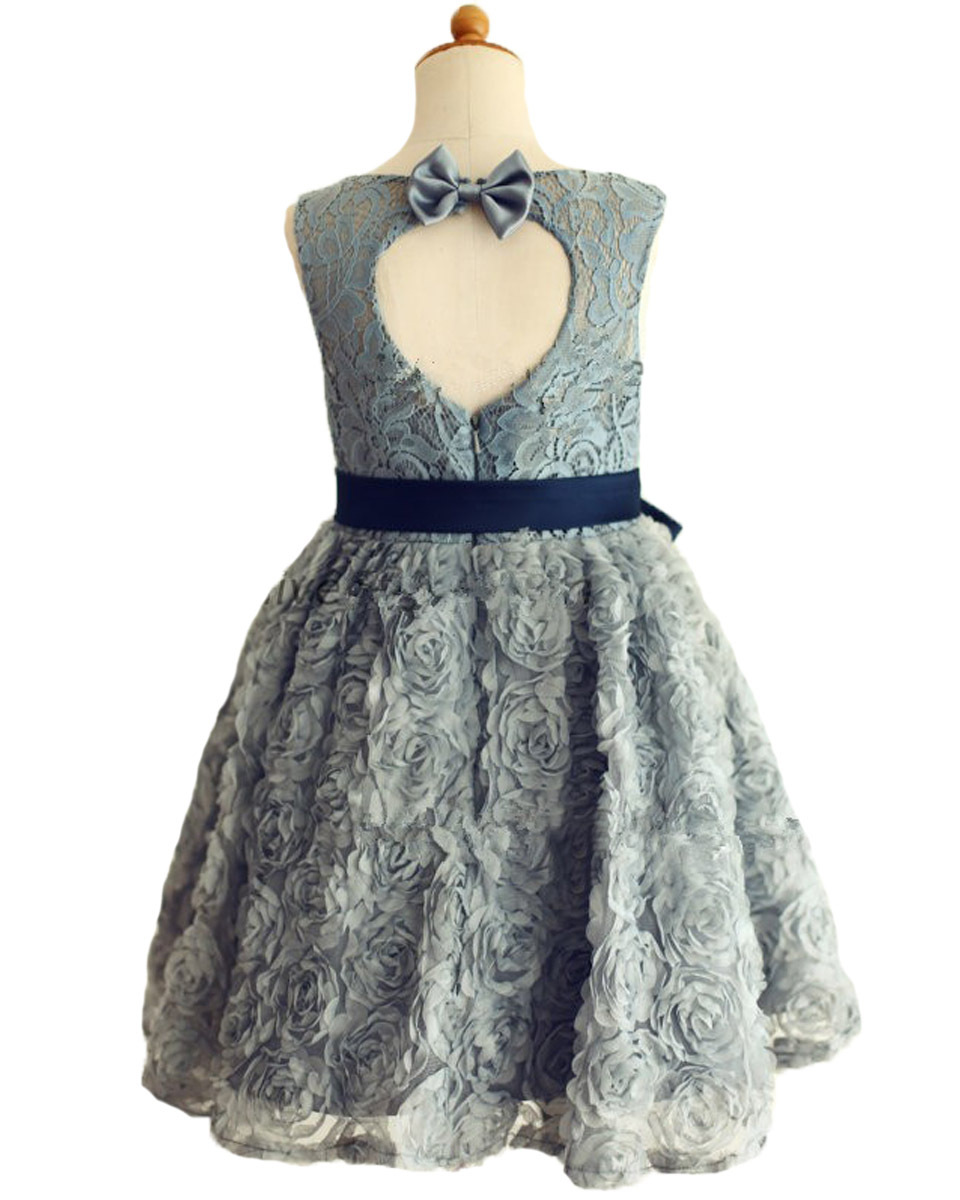 Fashion silk floral kids baptism dress with navy blue bow sash fashion silk floral kids baptism dress with navy blue bow sash wedding gray lace rosette keyhole flower girl dress 2 12 year old in dresses from mother ombrellifo Choice Image