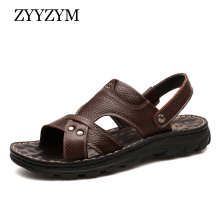 ZYYZYM Men Sandals 2019 Summer Pu Leather Fashion Classics Casual Slipper Non-slip Shoes Plus Size 38-48