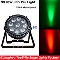 8XLot LED Par Light Waterproof 9X10W RGBW Quad Color High Quality Flat Par Cans IP65 Outdoor Professional DJ Disco Stage Lights