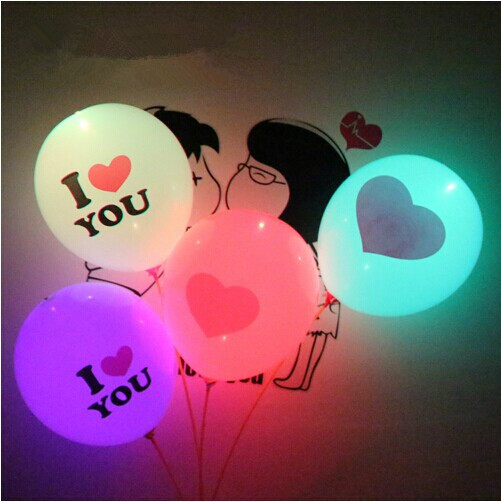 12inch I LOVE YOU Flash Illuminated LED Balloon Glow In Dark Sky Lanterns Happy Birthday Decor Party Valentines Day love marry