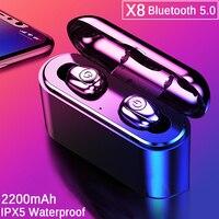 TWS X8 настоящие беспроводные наушники Bluetooth наушники мини TWS водонепроницаемые головные уборы с 2200 мАч power Bank для всех телефонов