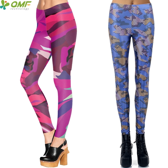 Coloré Camo Pantalon Punk Femmes Pilates De Yoga Leggings Taille Haute  Skinny Collants Rose Camouflage Crayon e3108eeac67