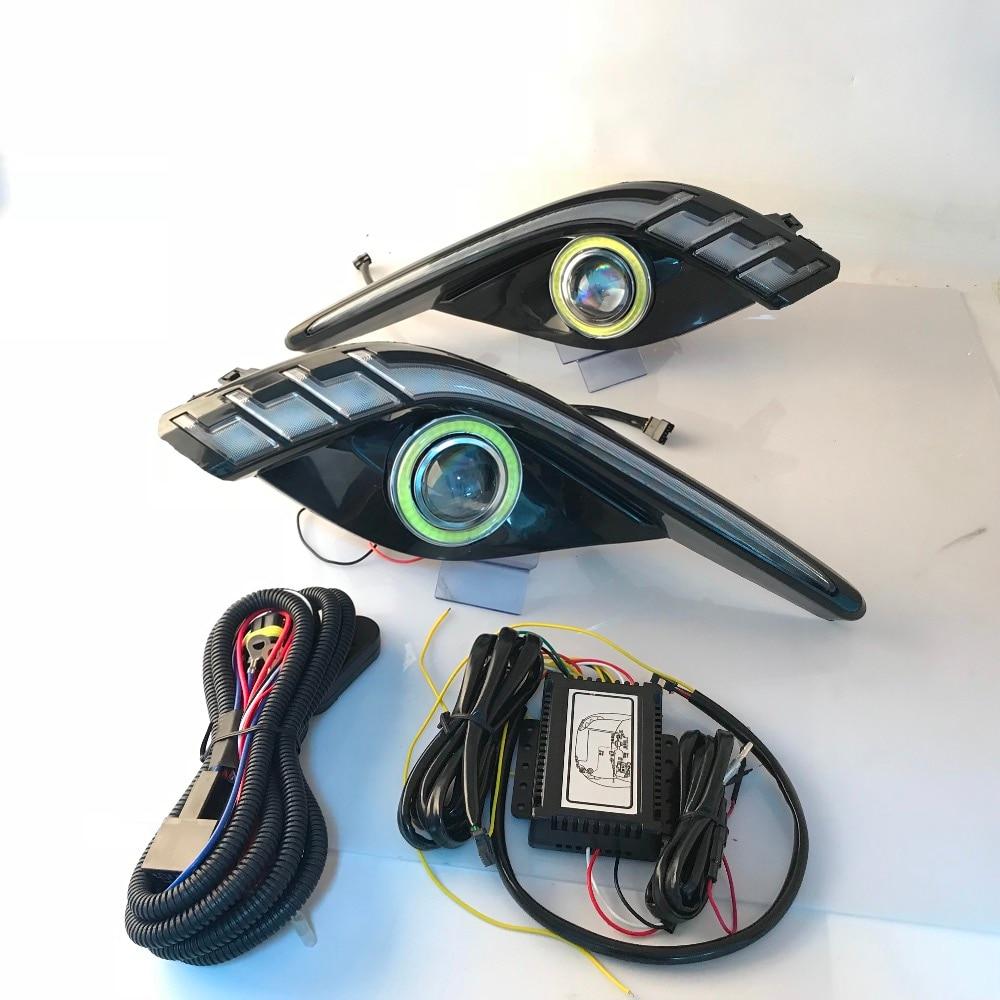 Montagem para Mazda atenza 6 RQXR fog lâmpada luz de condução cob angel eye led daytime running luz sinal de volta azul modo noturno