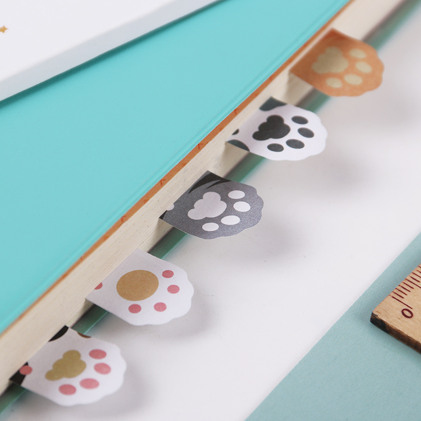 3PCS 5 Colors Cute Mini Cat Paw Memo Notepad Notebook Memo Pad Self-Adhesive Sticky Notes Bookmark Gift Stationery 1pcs creative cute memo notes on paper blossoms stationery office can tear scratchpad bookmark notebook free shipping
