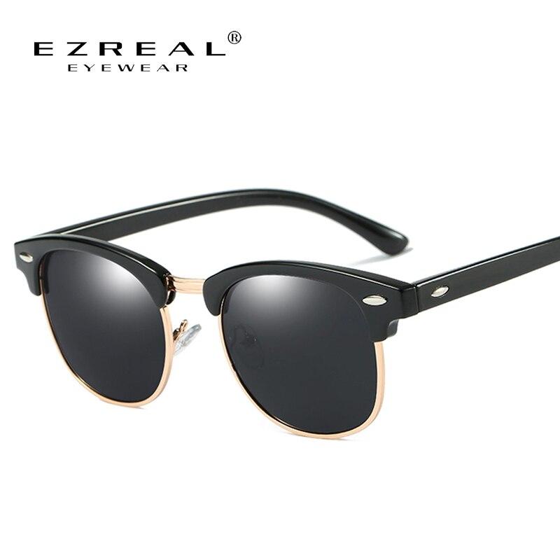 ce094987e82a4 EZREAL Marca Polarized Óculos De Sol Homens Ou Mulheres Retro Rebite de  Alta Qualidade Polaroid Lente de Design Da Marca Óculos de Sol Feminino  Oculos
