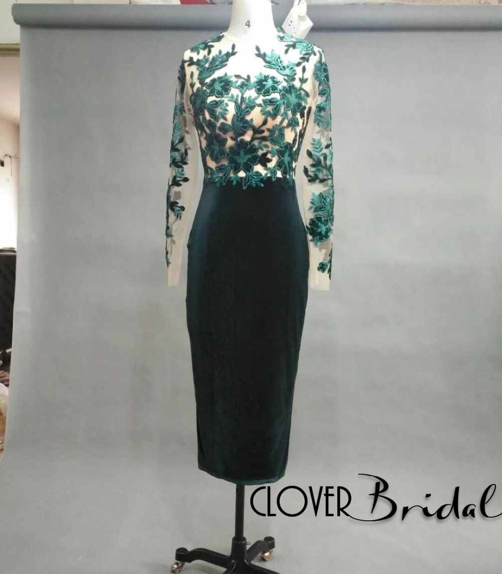 CloverBridal 2018 hot sale hunter green long sleeves tea length mermaid mother of the bride dresses for weddings dinner gown