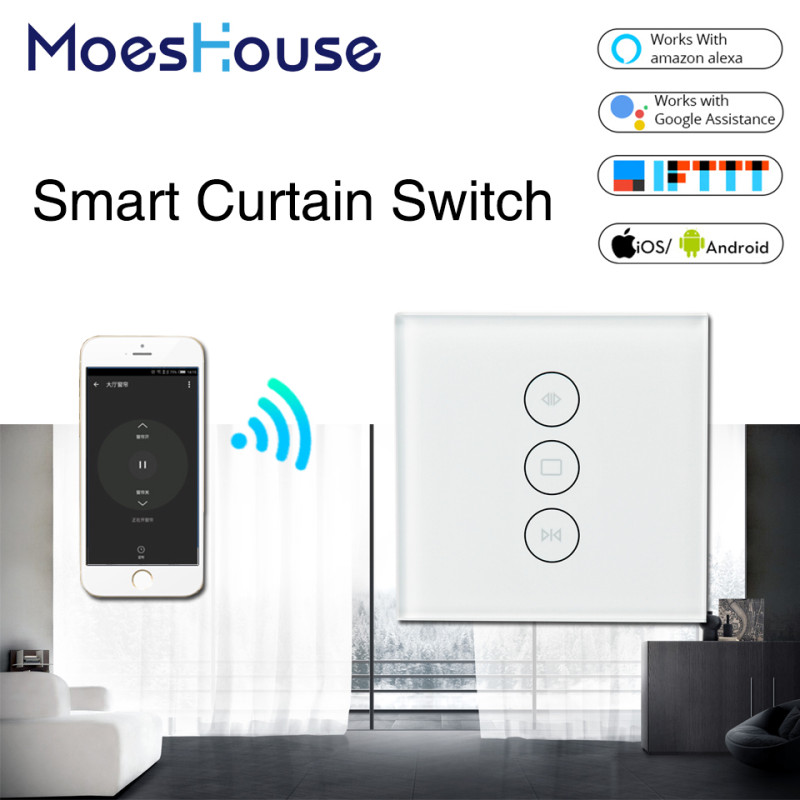 EU US WiFi Smart Curtain Switch Glass Panel App Remote Control Works with Alexa and Google Home or Electric Curtain Motor