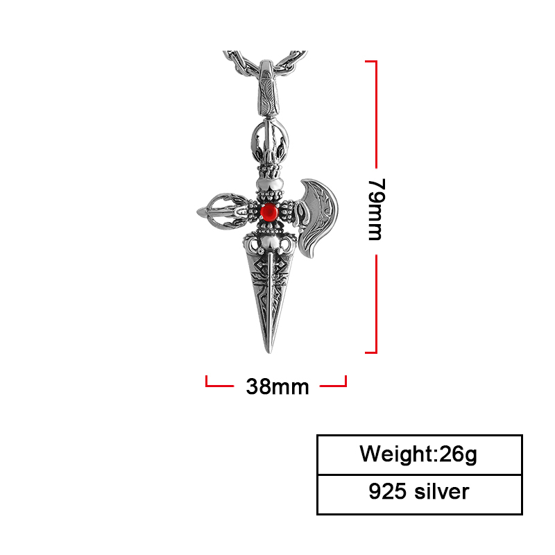 ZABRA 925 Sterling Silver Red Synthesis Of Zirconia Pendants Lovers For Women Men Retro Vintage Father s Day in Pendants from Jewelry Accessories