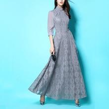 d6b42e3679d 2017 New Spring Autumn Women s Elegant Grey Red Lace Chiffon Cheongsam  Collar Long Sleeve Maxi