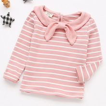 Children Clothes 2019 Spring New Baby Girls T Shirt Cotton Long Sleeve Girls Tee Tops Sailor Collar Striped T Shirt Toddler 0-5Y недорого