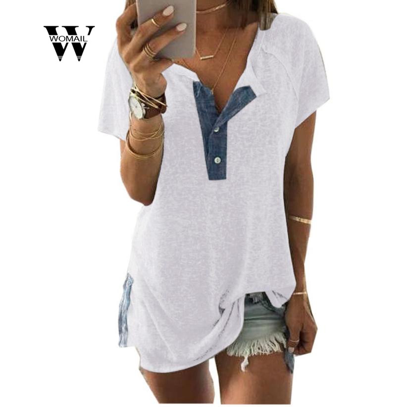 2018 New Fashion Women Girl Plus size Short Sleeve Loose Casual Button T Shirt Tops Amaz ...
