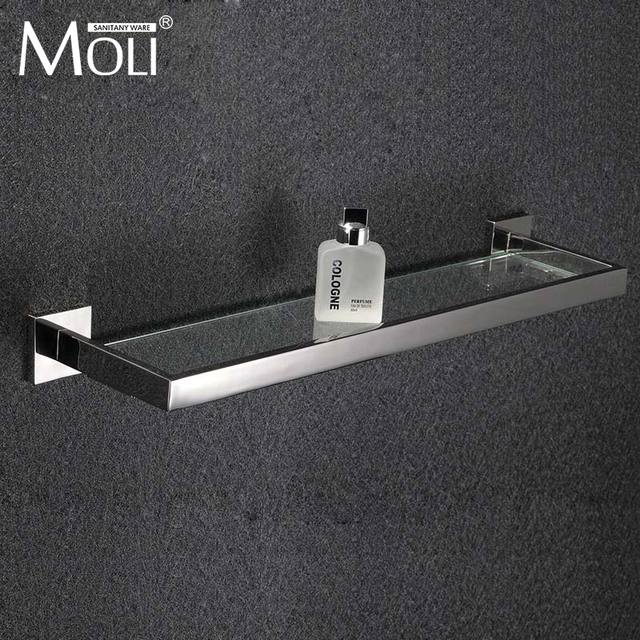 bathroom glass shelf square polished stainless steel bathroom accessories towel shelf - Bathroom Accessories Glass Shelf