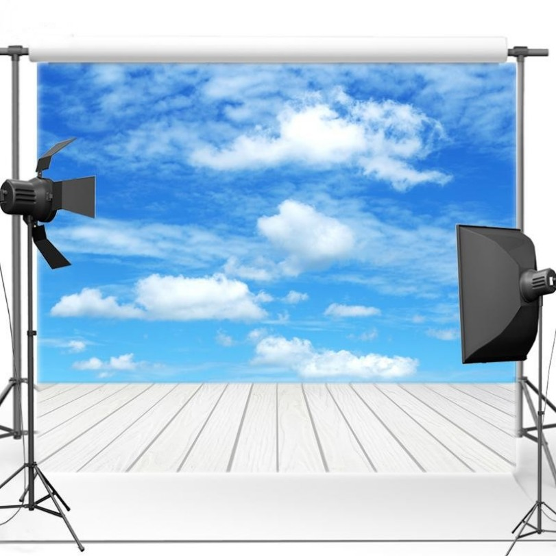 Blue Sky White Clouds White Wood Floor Backgrounds Vinyl cloth High quality Computer print wall photo backdrop
