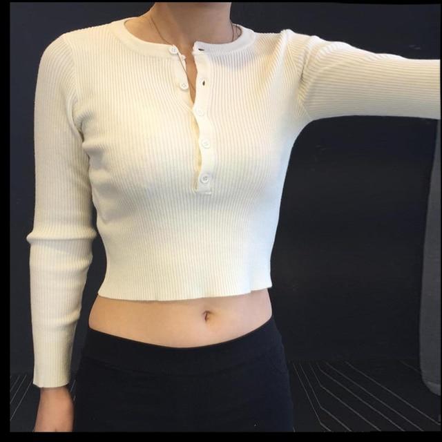2016 otoño nueva moda sexy slim elástico básica costilla botón knit manga larga mujeres camiseta de la cosecha Tops pullover punto
