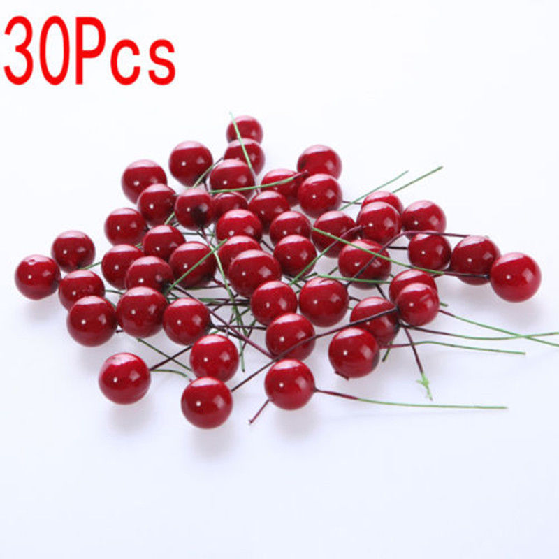 Xmas christmas red berry cranberry picks stems wreath home for Artificial cranberries for decoration