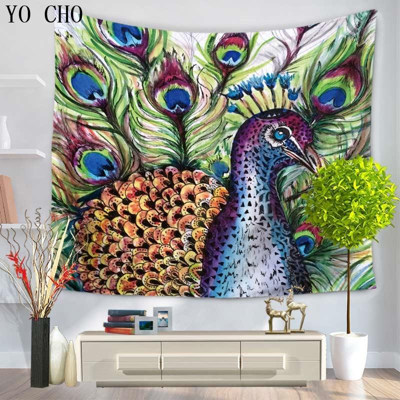Peacock Home Decor: YO CHO Proud Elegant Peacock Tapestry Vibrant Colors