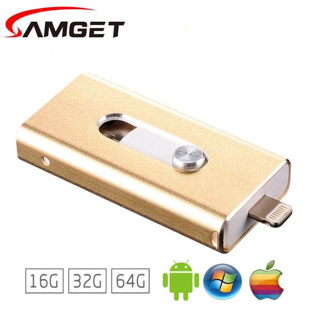 Samget i-Easy Drive 8GB/16GB/32GB/64GB Mini USB Metal Pen Drive OTG USB Flash Drive For iPhone 5/5s/5c/6/6 Plus/7/ipad Pendrive