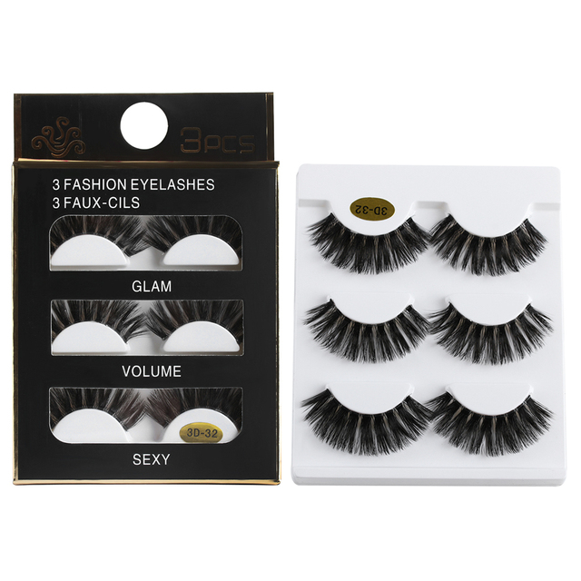 3Pairs 3D Mink Hair Transparent Terrier False Eyelashes Thick Long Lashes Wispy Natural Full Strip Eye Lashes Extension Makeup False Eyelashes