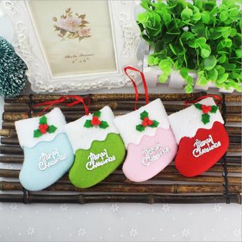 Boże narodzenie drzewo wisiorek dekoracje świąteczne dekoracje świąteczne Santa boże narodzenie pończochy cukierkowe skarpety Ornament boże narodzenie prezenty tanie i dobre opinie 0918-5