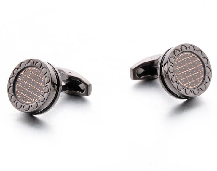 10 paires/lot Gunblack boutons de manchette ronds avec motif de grille Vintage Style d'affaires boutons de manchette chemise bouton de manchette hommes bijoux cadeau-in Pinces à cravate et boutons de manchette from Bijoux et Accessoires    2