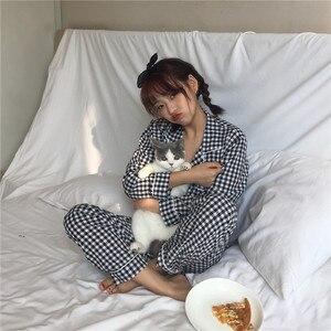 Image 5 - 2019 coreano feminino pijamas conjuntos com calças de algodão pijama xadrez primavera verão pijamas bonito noite wear pijamas