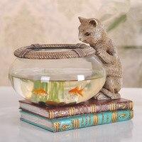 Творческий старинные Cat глядя на стеклянный аквариум фигурка кошки аквариум для рыбок современные декоративные домашнего декора
