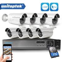 8CH POE NVR Kit 48V Power CCTV Camera System Onvif P2P 4MP HD H 265 IP