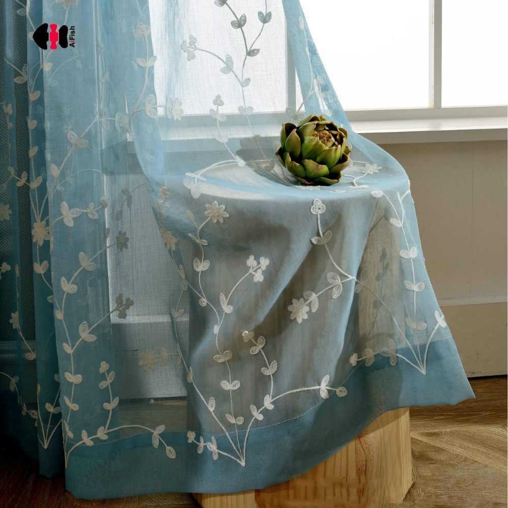 Pastoral Floral Embroidered Sheer Curtains for Bedroom Cotton Linen Elegant Blue White Pink French Window Drapes WP070C