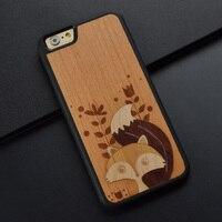 Squirrel Splicing cute original unique retro design wood phone case for iPhone 6 S 7 8 plus wooden cover for Huawei P10 plus