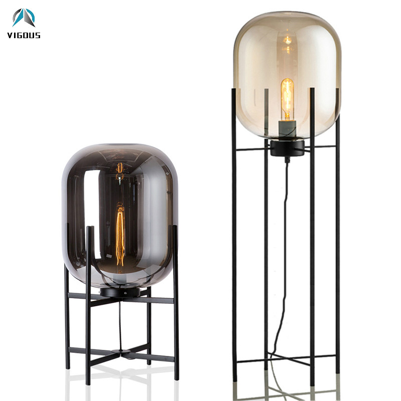 Poste moderne Europe Oda Pulpo lampe de Table luxe grand verre abat-jour métal bureau lumière ambre/gris Table déco lampe pour salon