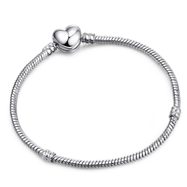 BAOPON High Quality Authentic Silver Color Snake Chain Fine Fit European Charm Bracelet 3