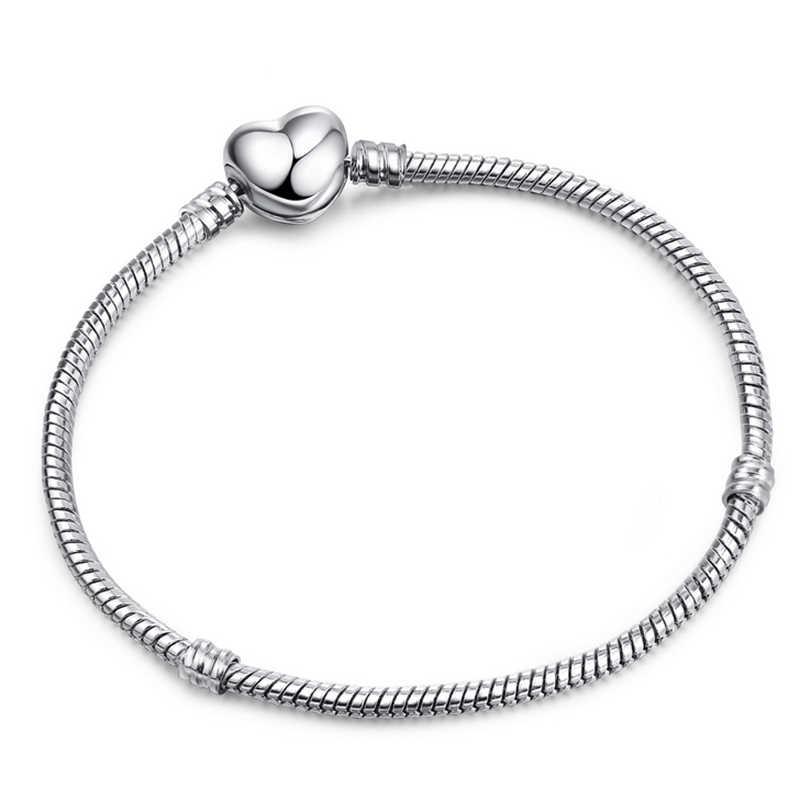 Baopon Tinggi Kualitas Otentik Perak Warna Ular Rantai Fine Gelang Cocok Eropa Pesona Gelang untuk Wanita DIY Membuat Perhiasan