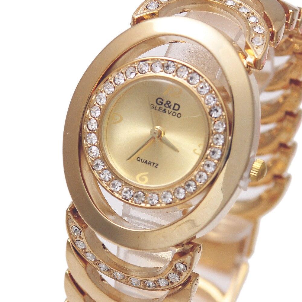 2018 Фирменная Новинка Роскошные G & D женщи Кварцевые наручные часы Нержавеющаясталь Relojes Mujer Золотые женские часы-браслет Relogio feminino