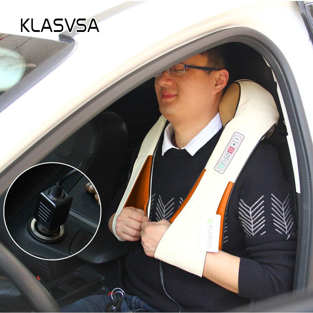 KLASVSA calefacción eléctrica masajeador de cuello cabo Shiatsu coche infrarrojos KneadingTherapy dolor de hombro, masajeador relajarse - 5