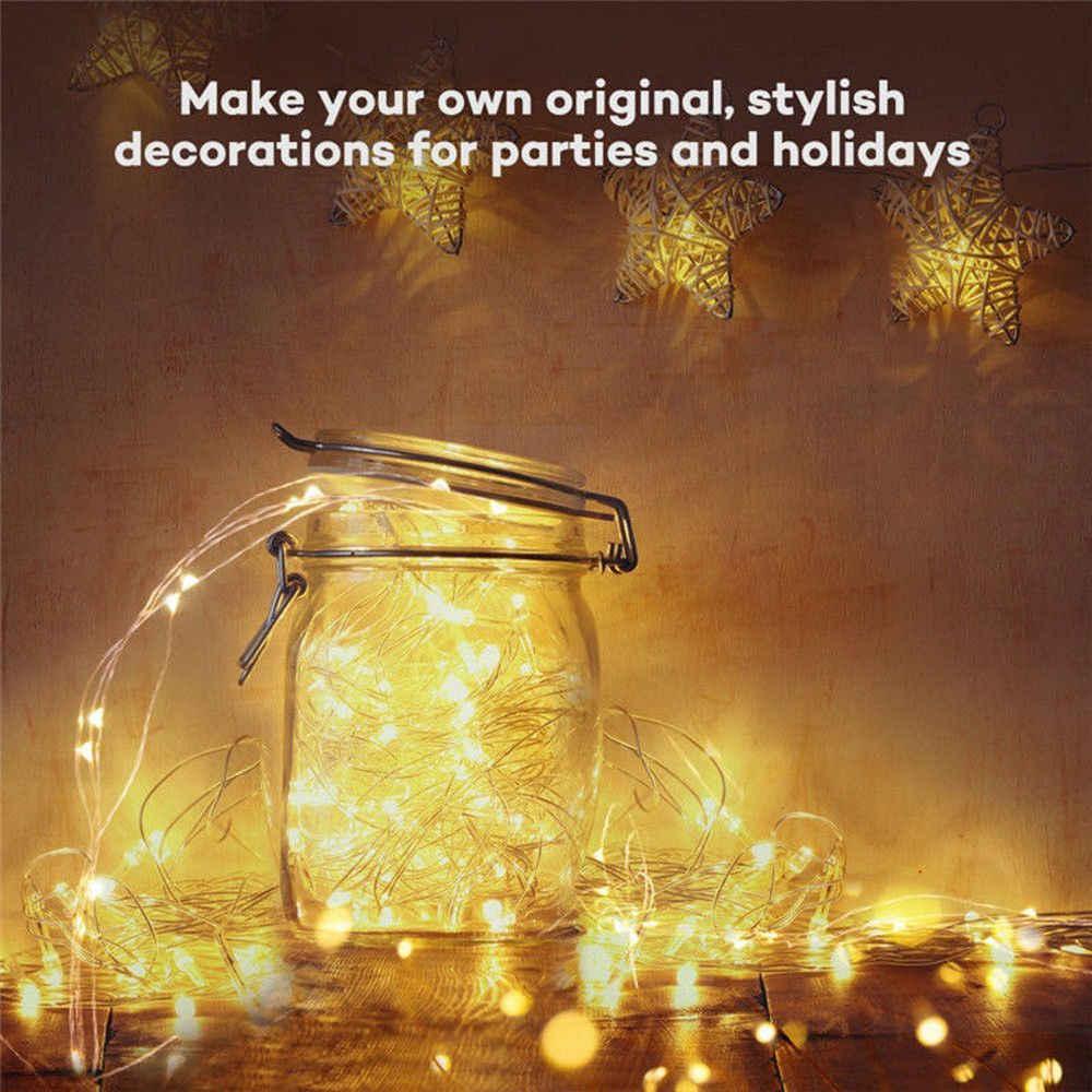 LED Giáng chuỗi Lights 5 m 10 m Đồng Không Thấm Nước Cổ Tích String Ánh Sáng Đèn Trang Trí Năm Mới Xmas Trang Trí Đám Cưới
