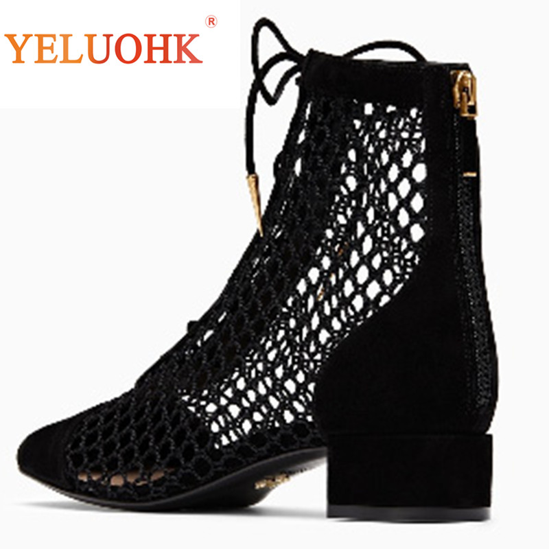 Natural Suede Summer Boots Women Breathable Knee High Boots 2018 Women Summer Shoes High Quality