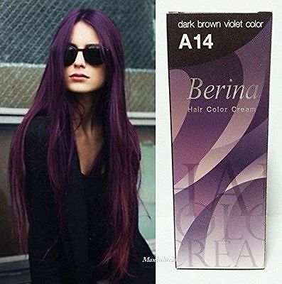 BERINA профессионалов волос Цвет крем-краска для волос Цвет-A14: темно-коричневый фиолетовый Бесплатная доставка