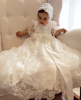2016 Handmade Ivory Baby Girl Baptism Gown Christening Dress Lace 0 24month Baby Boy Robe With