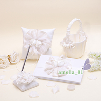 Wedding Guest book tulip flower basket pen holder ring pillow high quality wedding supplies&Ring Pillow&Girls Bridal Products