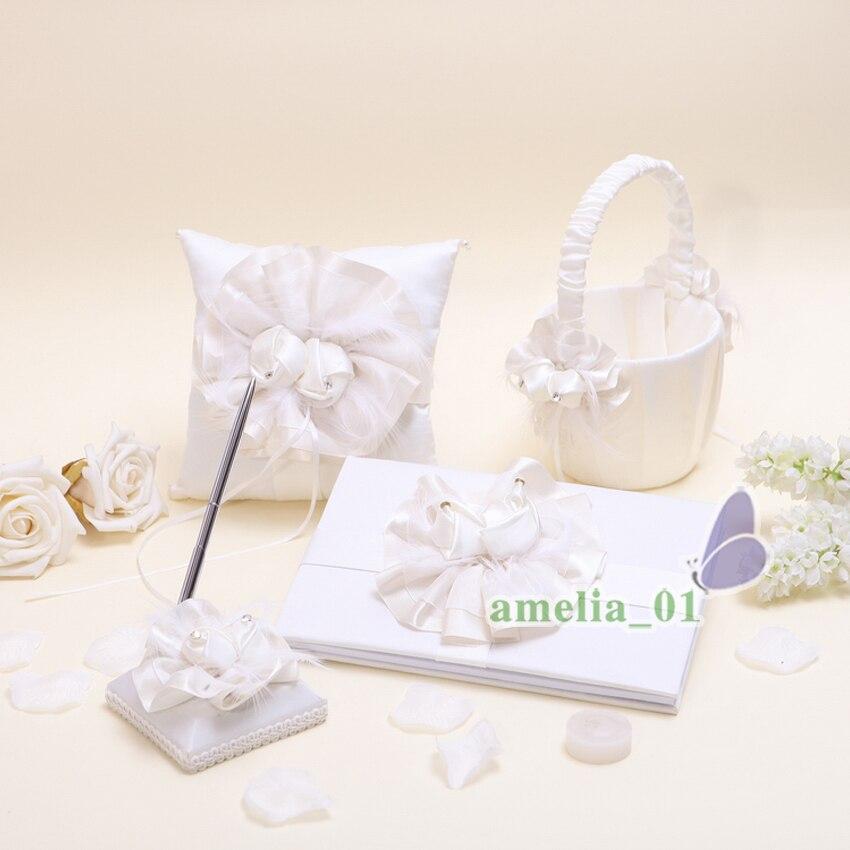 Livre d'or de mariage tulipe panier porte-stylo anneau oreiller haute qualité fournitures de mariage et anneau oreiller et filles produits de mariée