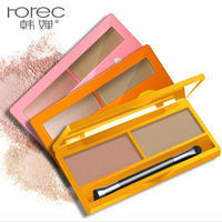 HANCHAN Double Colors Eyebrow Powder Palette Enhancer Shadow with Mirror Brush Fashion Brightening Solid Abundant Makeup Effect Skin Care