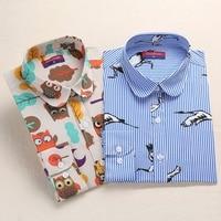 Dioufond Animal Print Shirts Women Cotton Blouses Floral Elegant Ladies Tops Long Sleeve Female Clothes Plus Size Autumn Blusas